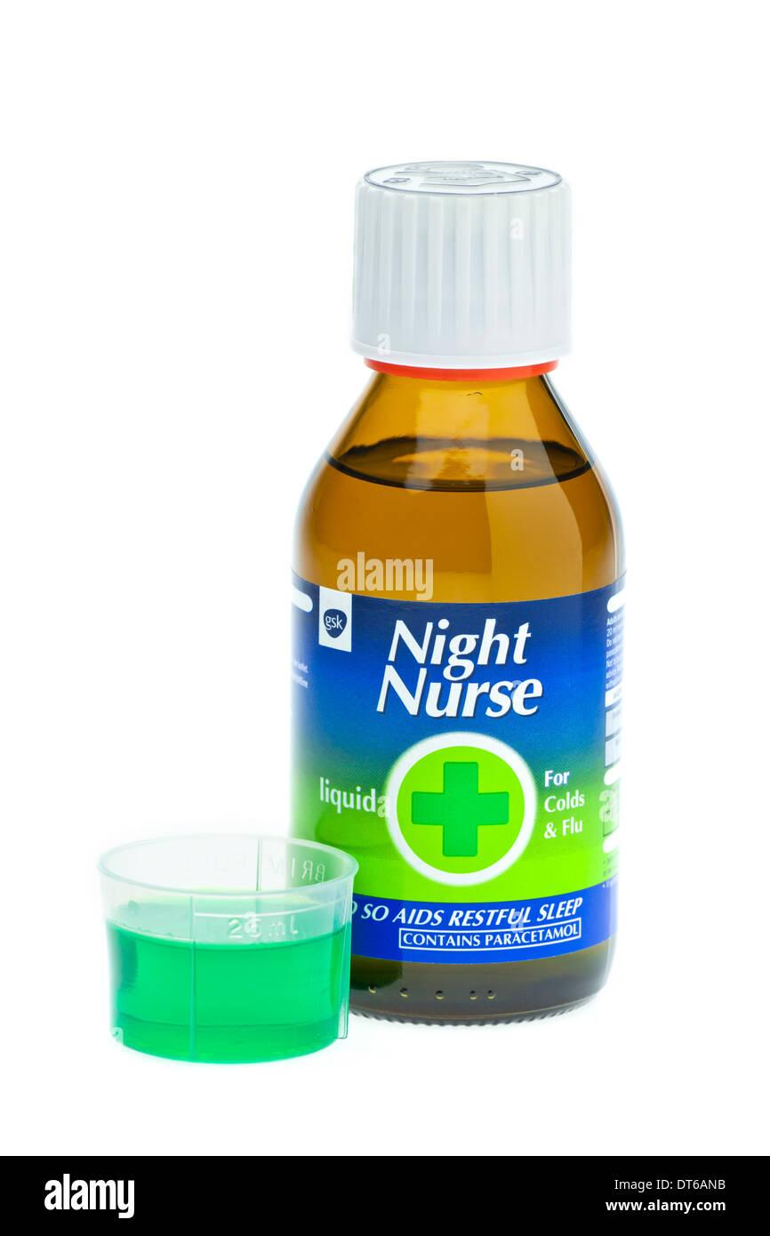 Nachtschwester Kälte und Grippe Abhilfe auf weißem Hintergrund Stockbild
