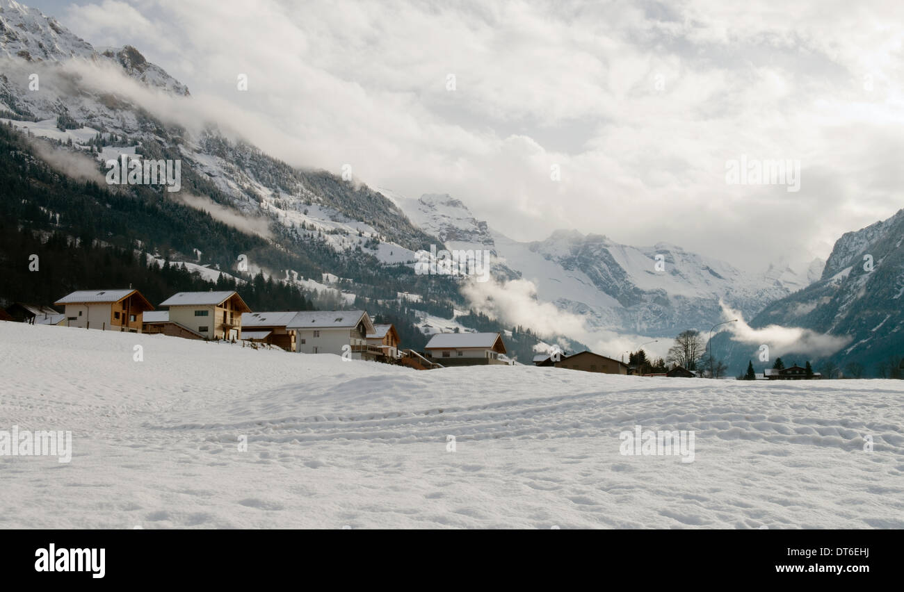 Schneelandschaft bei Fritigen, Schweiz Stockbild