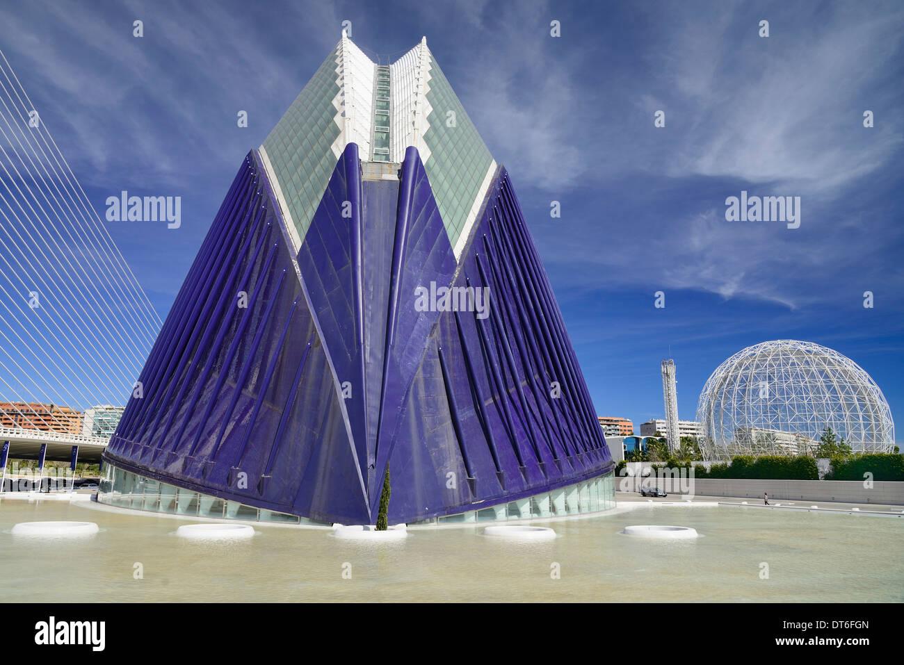 Spanien, Provinz Valencia, Valencia, La Ciudad de las Artes y las Ciencias, die Stadt der Künste und Wissenschaften, Stockbild
