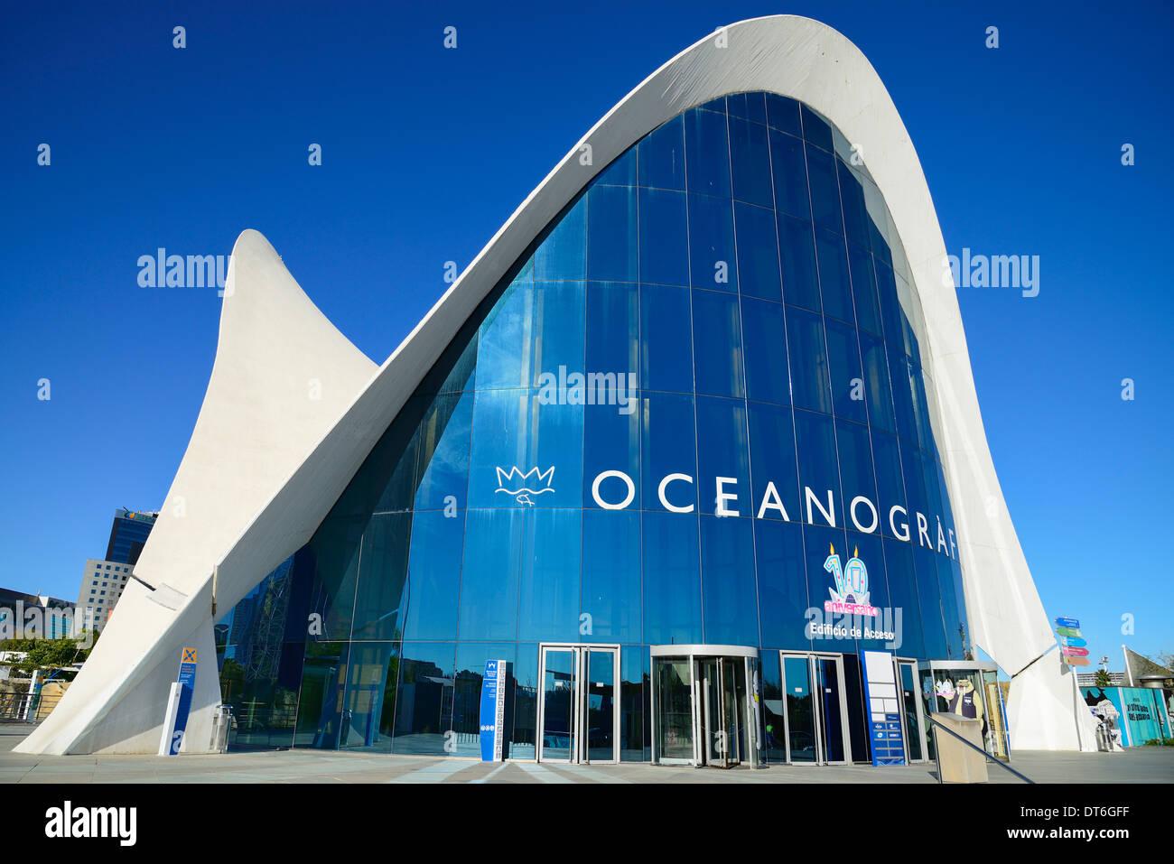 Spanien, Valencia, La Ciudad de las Artes y las Ciencias Stadt der Künste und Wissenschaften Oceanogràfic Stockbild