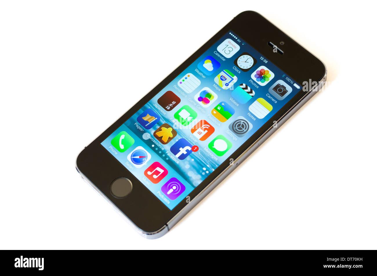Apple iPhone 5 s Smartphone, entworfen von Jonathan Ive, umfasst Fingerabdruckerkennung entsperren Stockbild