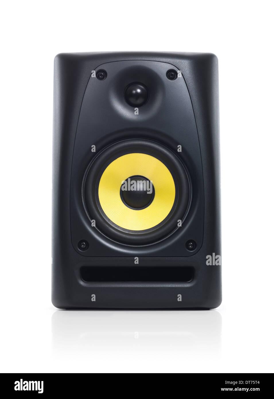 Nahaufnahme von einer audio-sound-System-Lautsprecher mit Beschneidungspfad auf weißen Hintergrund isoliert Stockfoto