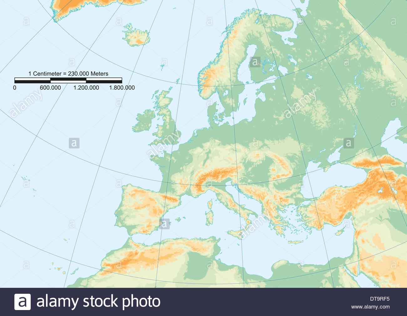 Europa Karte Physisch.Physische Karte Von Europa Mit Gradnetz Und Grafische Skala