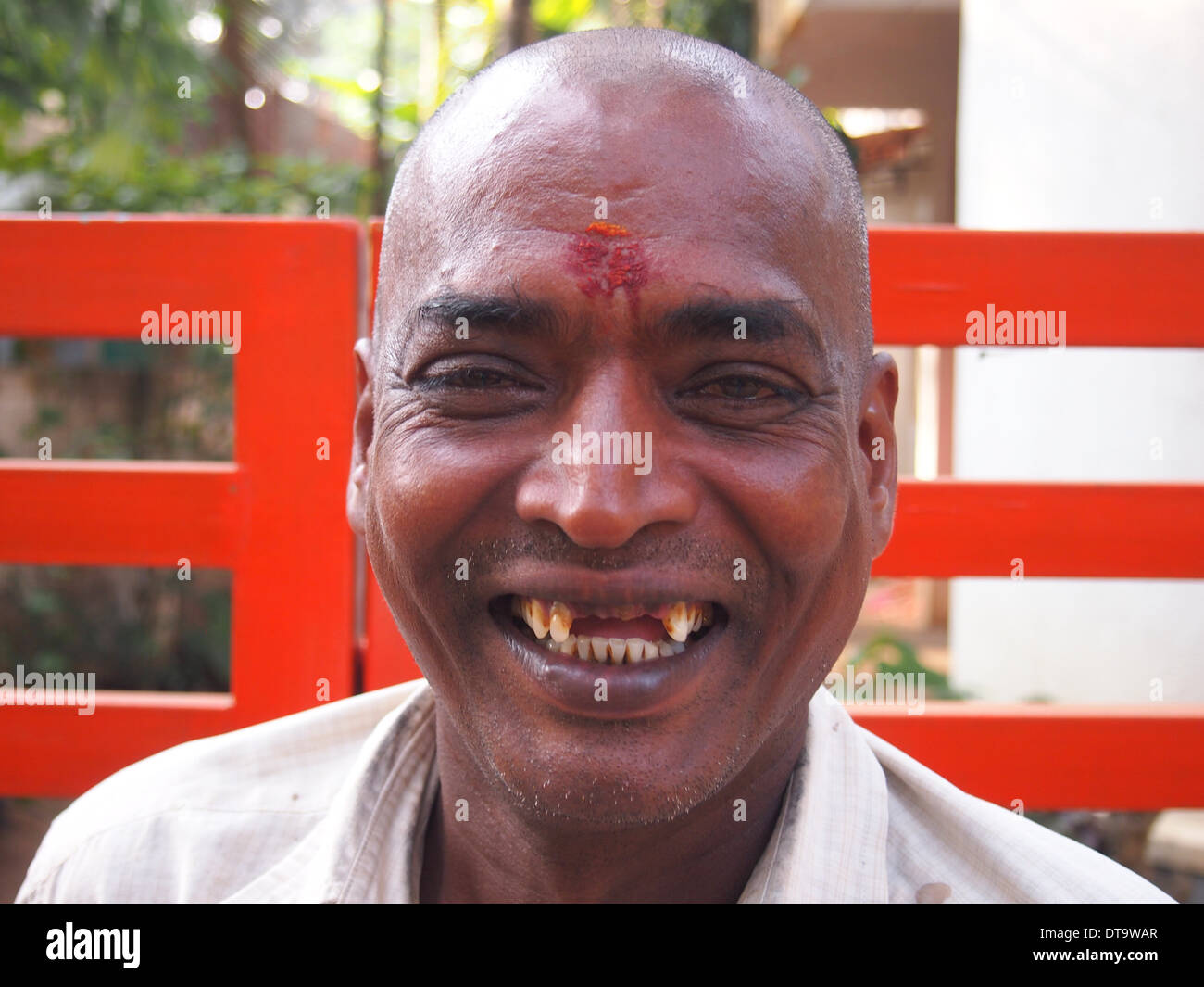 Lustige Menschen, lachen, zahnlose Menschen Stockfoto