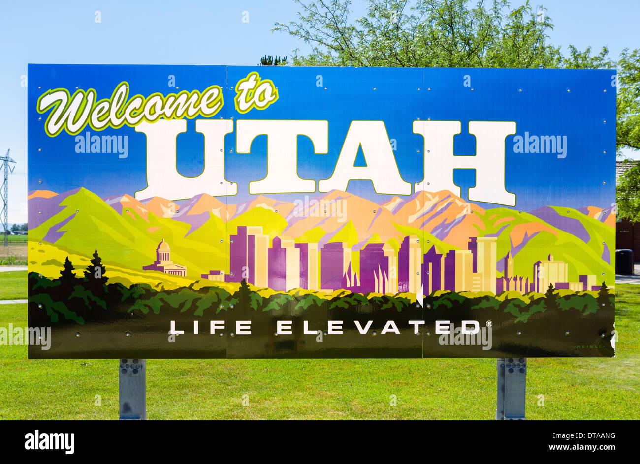 Herzlich Willkommen Sie in Utah Zeichen, USA Stockbild