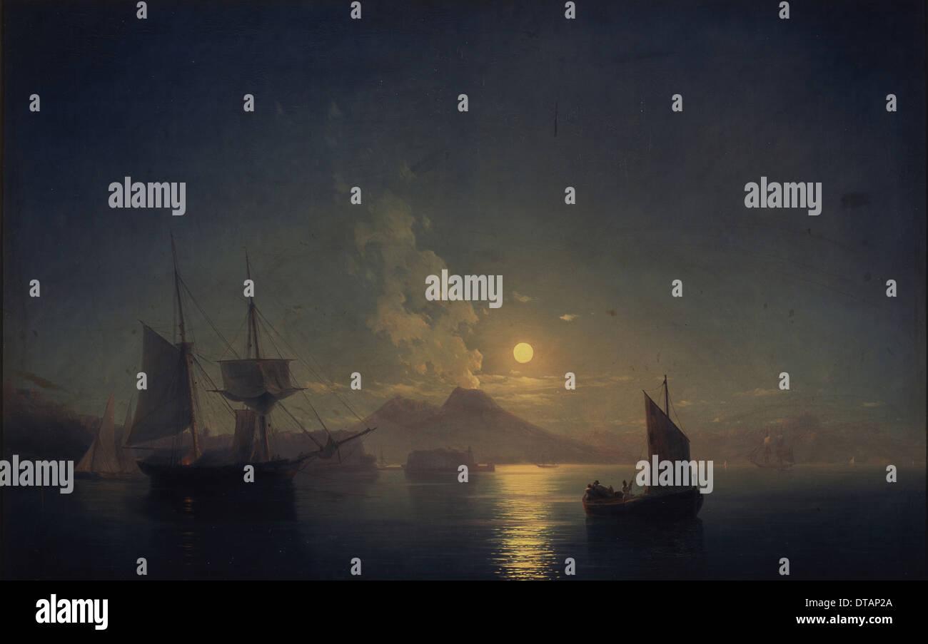 Neapel bei Nacht, 1850. Künstler: Aiwasowski, Ivan Konstantinowitsch (1817-1900) Stockbild