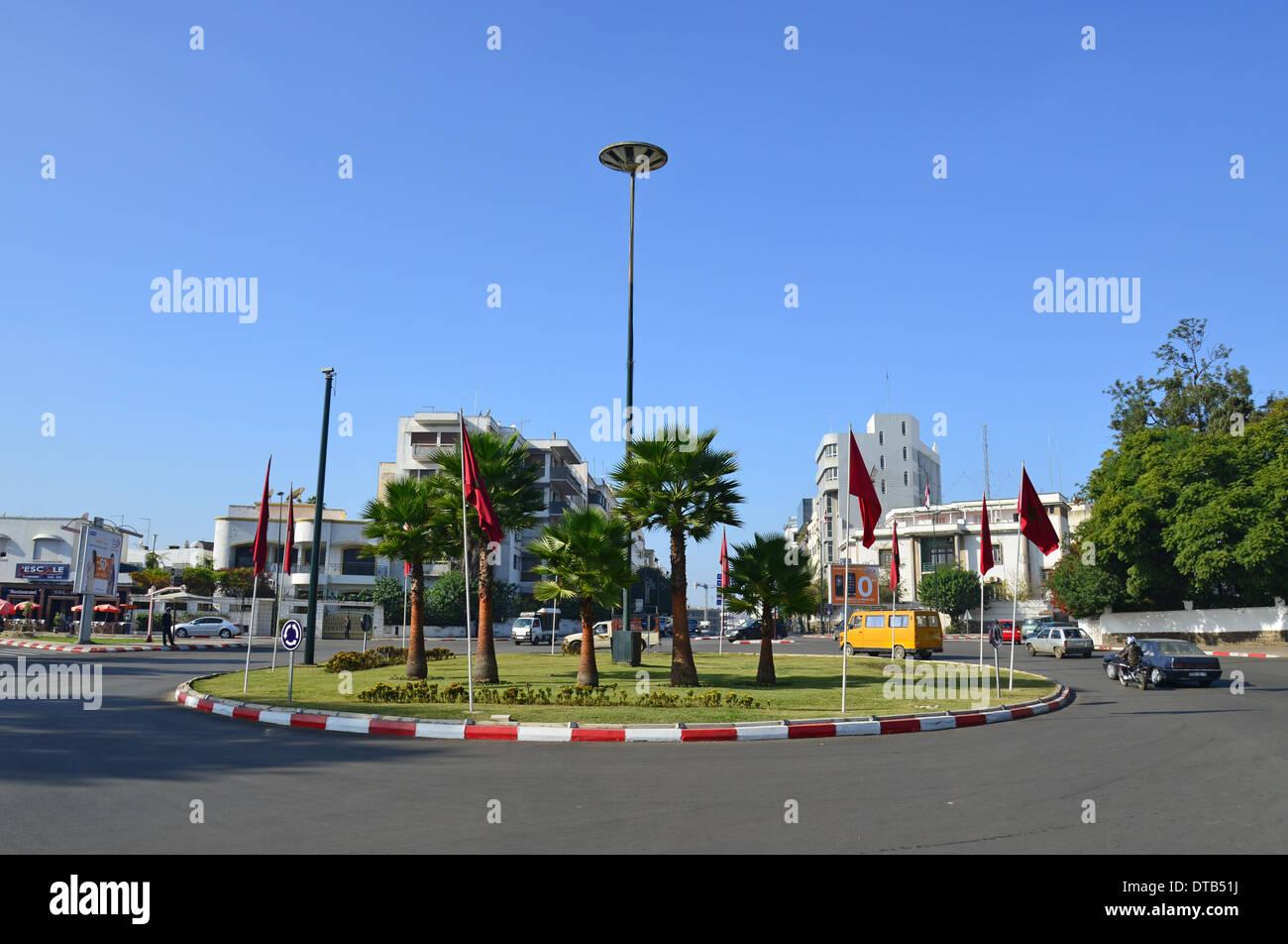 Stadt-Kreisverkehr, Rabat, Rabat-Salé-Zemmour-Zaer Region, Königreich Marokko Stockbild
