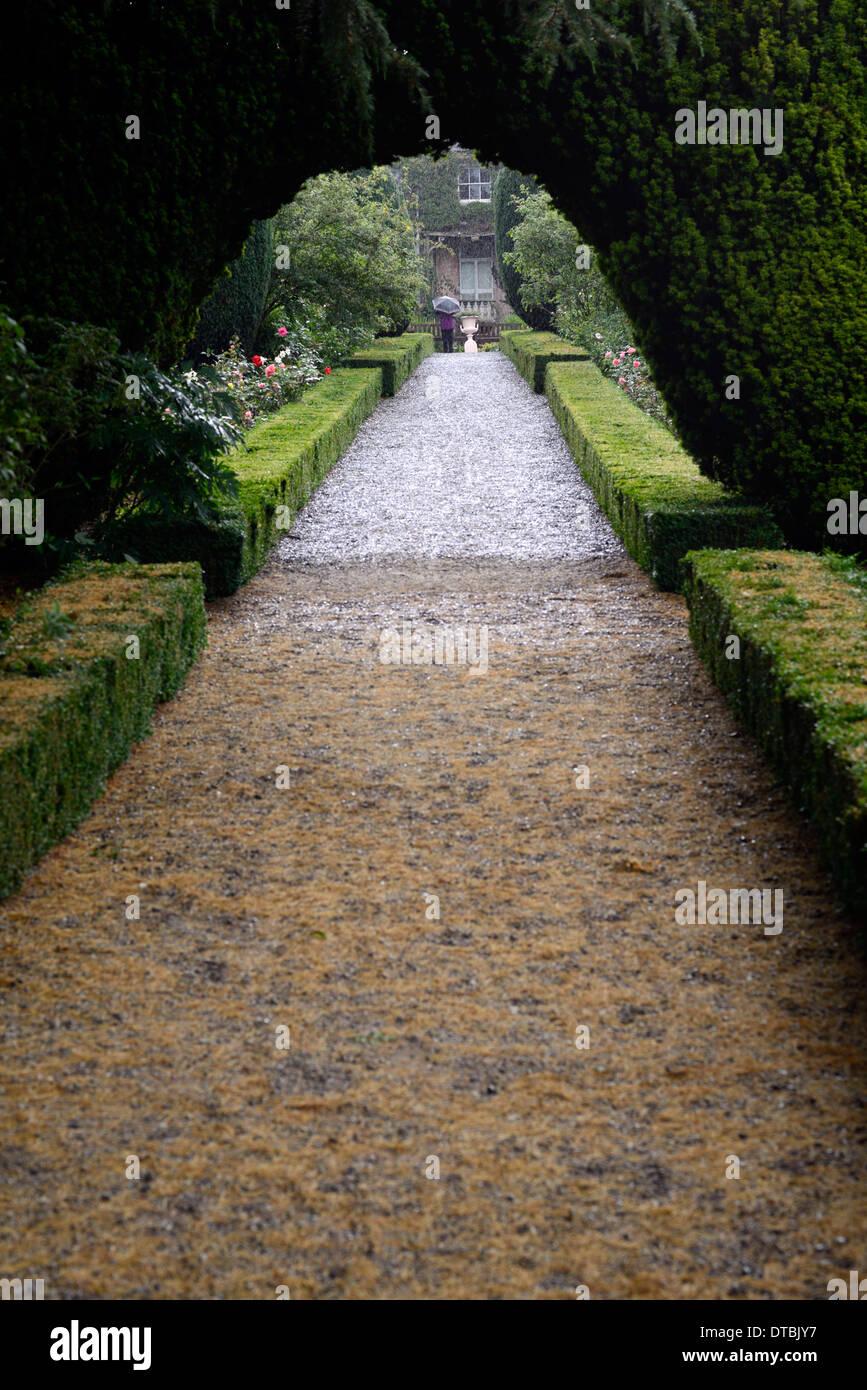 Altamont Gärten Pfad gesäumt mit Buxus Sempervirens Box Hecke Eibe