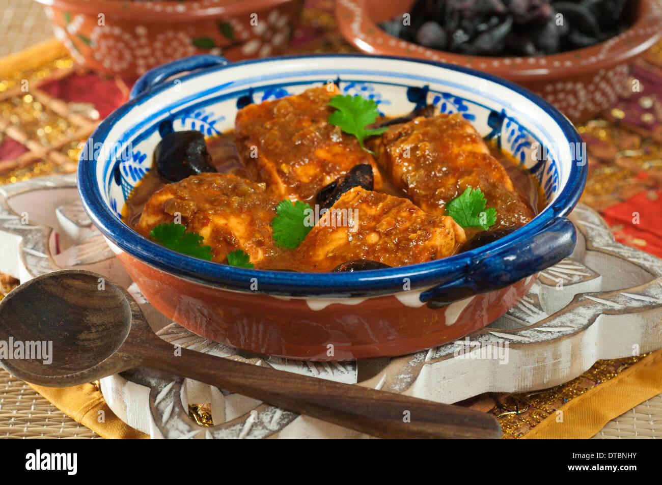 Fisch Ambotik sauer und würzig Meeresfrüchte curry Goa Indien Essen Stockfoto