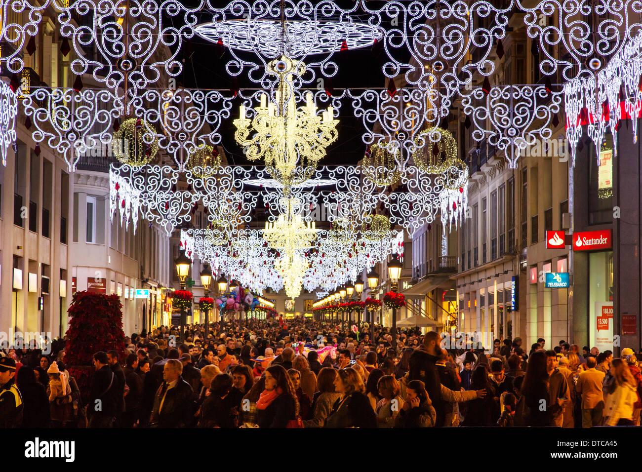 Spanien Weihnachten lichter und weihnachten dekoration malaga costa del sol andalusia