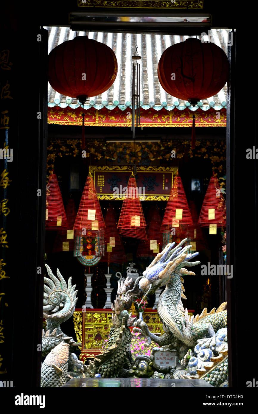 Ancestry-Haus-Tempel und Drachen Skulptur in Hoi an, Vietnam Stockbild