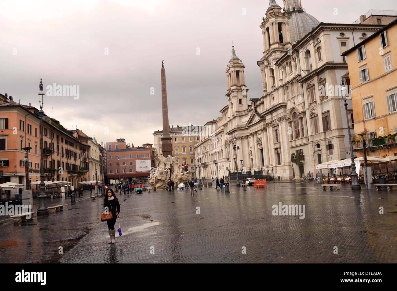 Rom, die Piazza Navona, eines der beliebtesten Platz im Zentrum. Stockbild