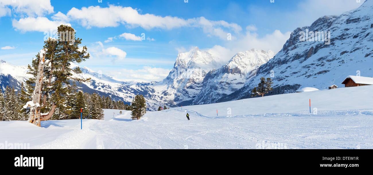Panoramablick auf einer Skipiste in Grindelwald, Schweiz. Stockbild