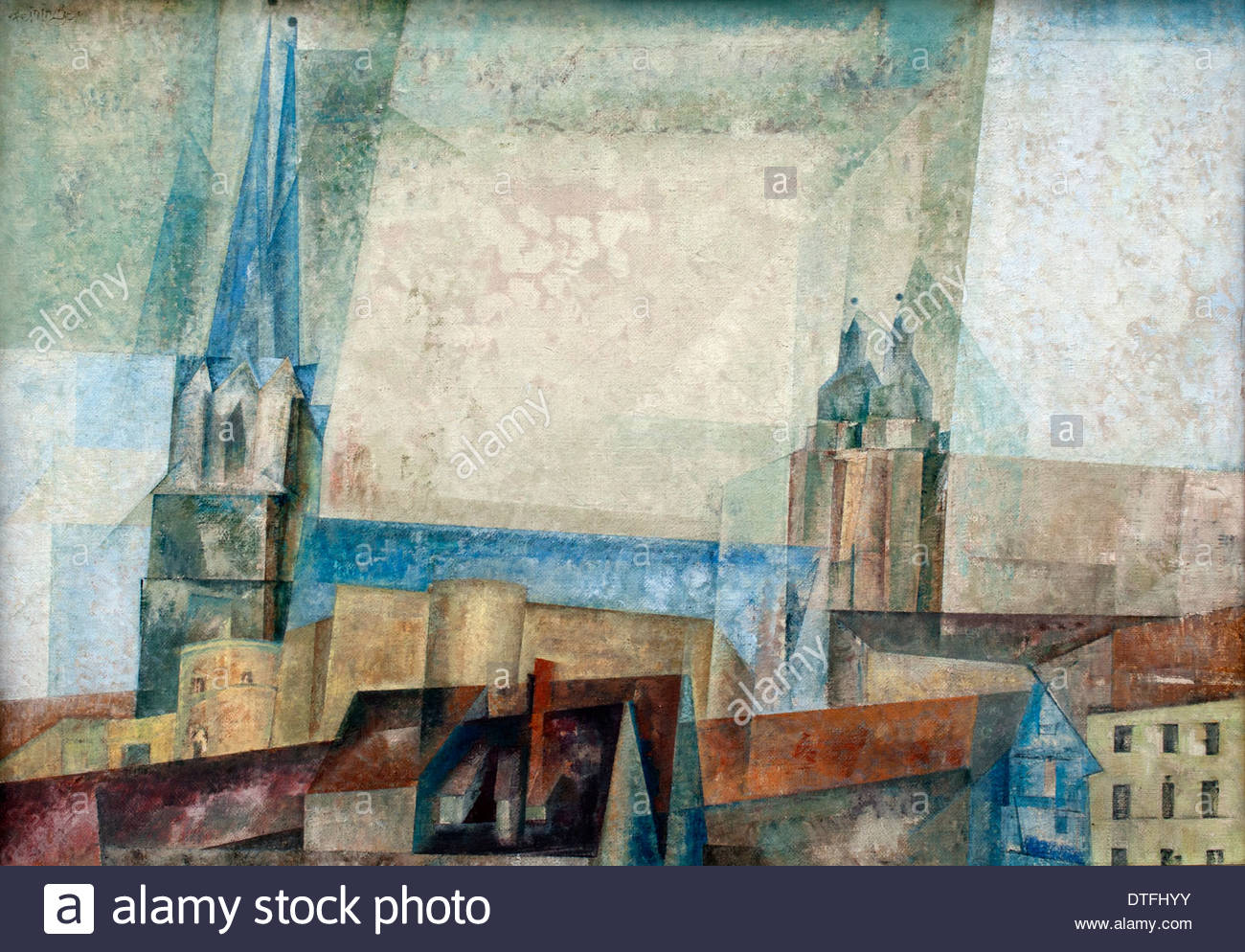 thront ber der stadt halle lyonel feininger 1871 1956. Black Bedroom Furniture Sets. Home Design Ideas