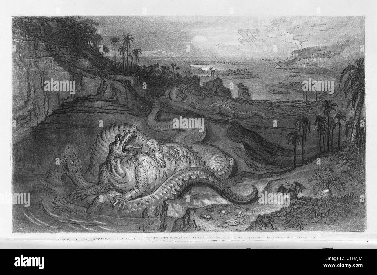 Das Land von der Iguanodon Stockbild