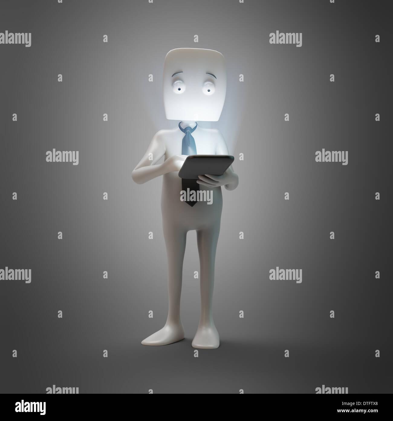 3D Cartoon-Figur Techy mit einem Touchscreen-smartphone Stockbild
