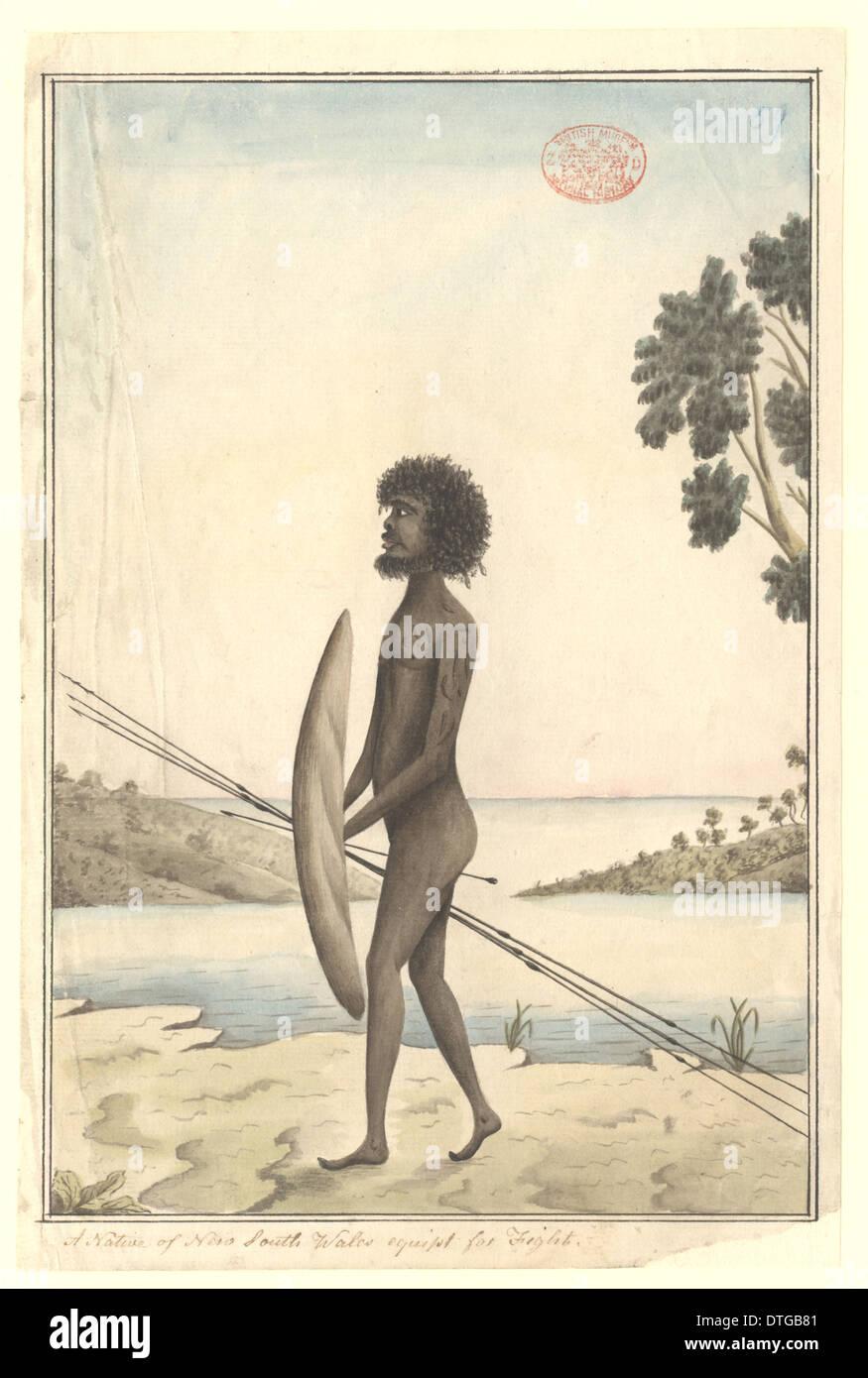 Aborigines Mann bewaffnet für den Kampf Stockbild