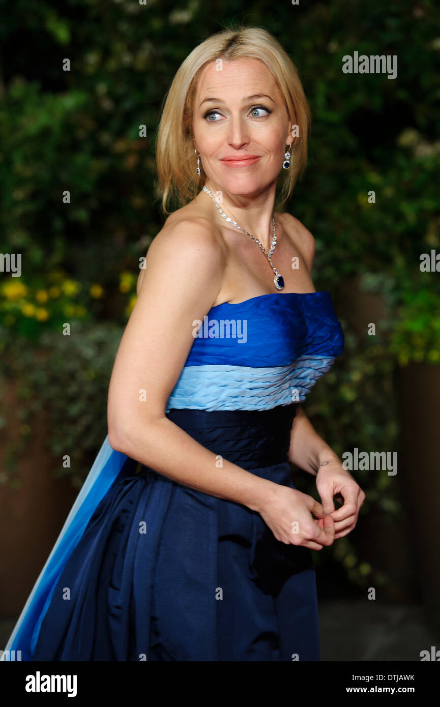 Gillian Anderson kommt für den British Academy Film Awards 2014 After Party im Grosvenor Hotel. Stockbild