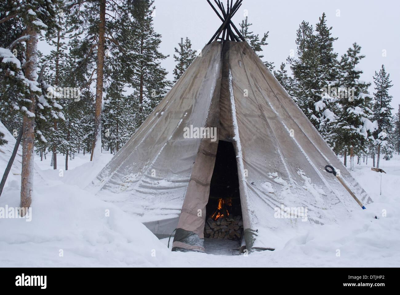 Sami Zelt Lappland Stockfotografie Alamy