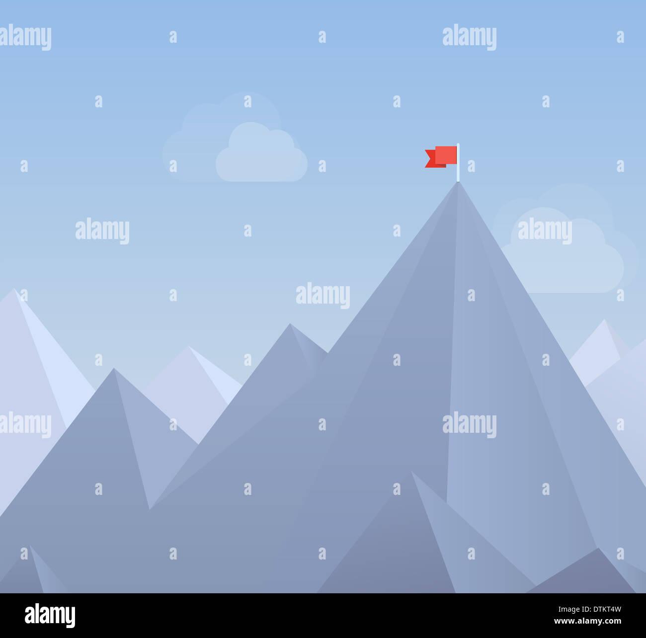 Flaches Design moderne Illustration Konzept der Flagge auf dem Berggipfel, was bedeutet die Überwindung von Schwierigkeiten und Ziele erreichen Stockbild