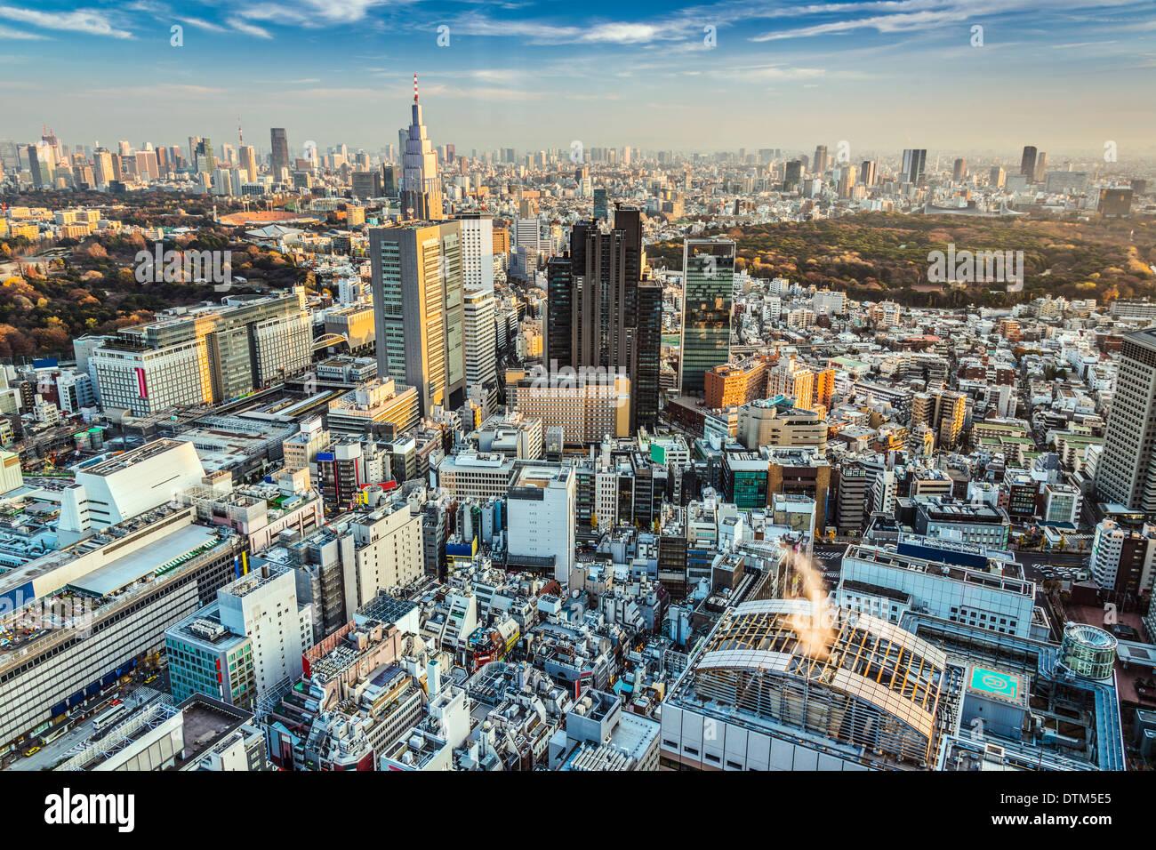 Tokyo, Japan Stadtbild Antenne Stadtbild Ansicht in der Abenddämmerung. Stockbild