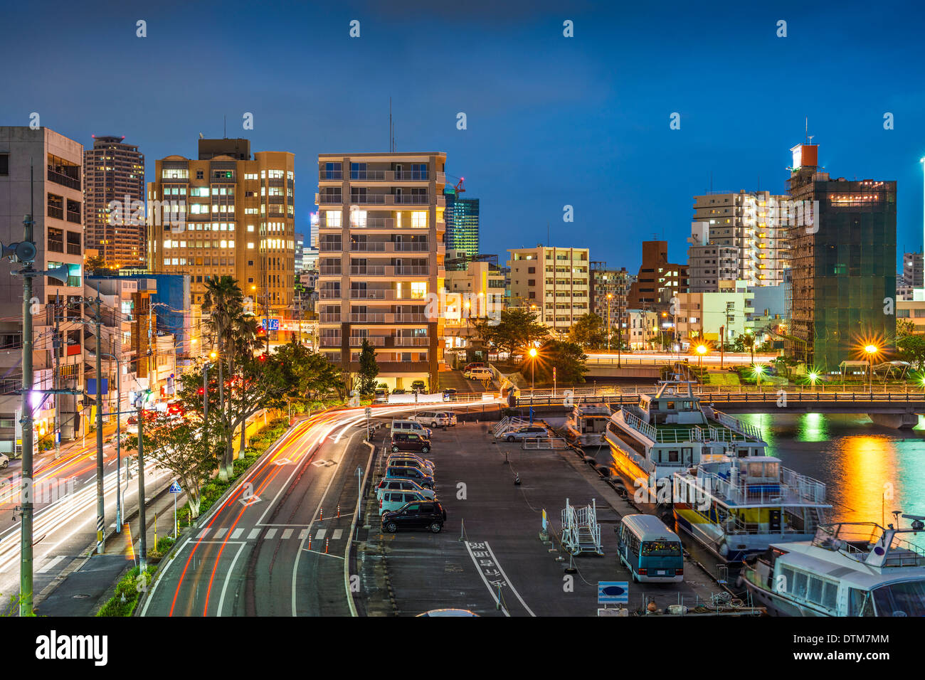 Naha, Okinawa, Japan Skyline in der Hafenstadt. Stockbild