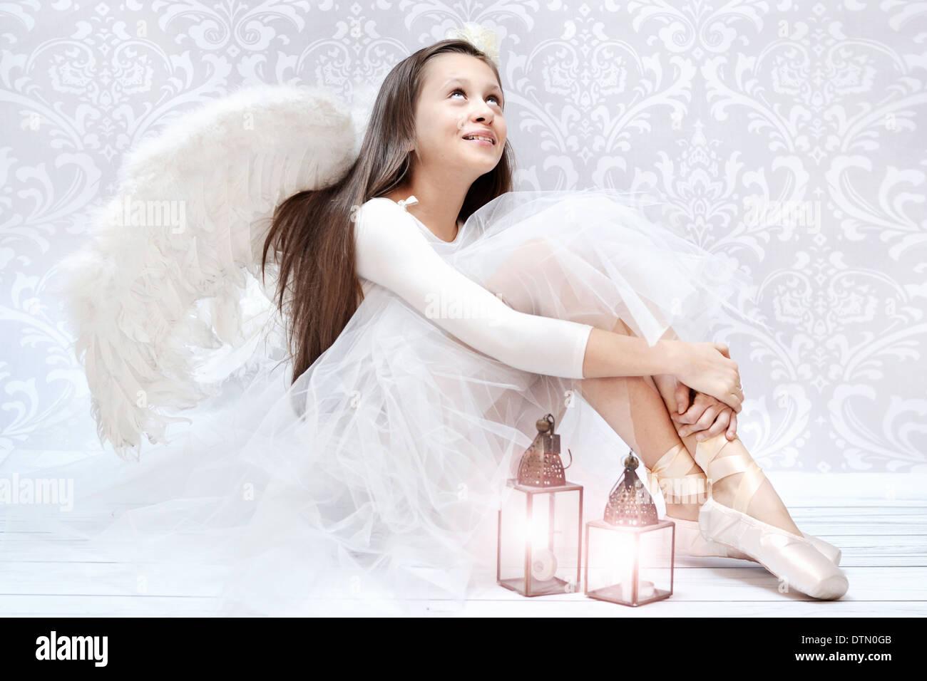 Froh, dass Ballett-Tänzerin nach entscheidenden performarnce Stockbild