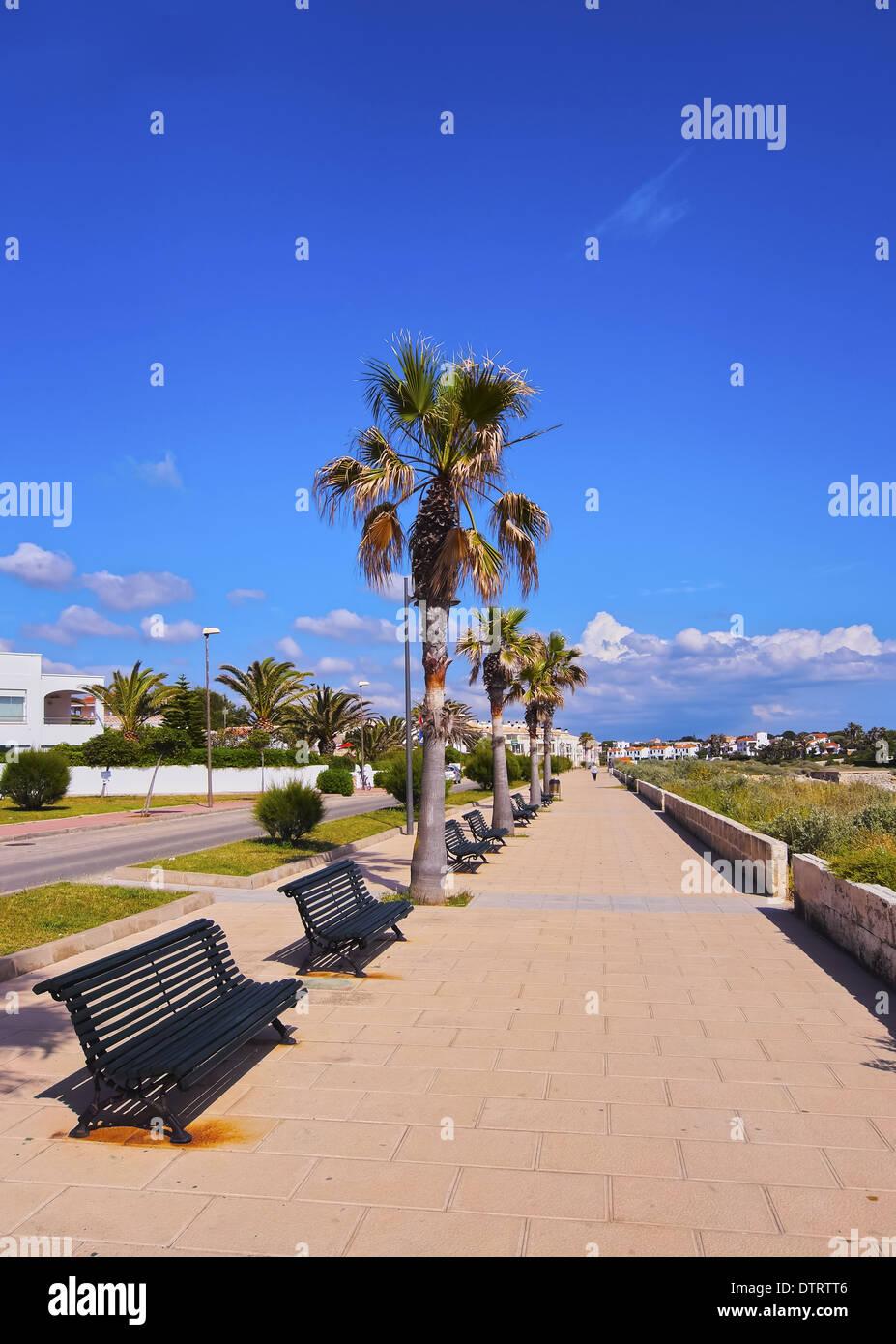 Blick auf die Küste in Ciutadella auf Menorca, Balearen, Spanien Stockfoto