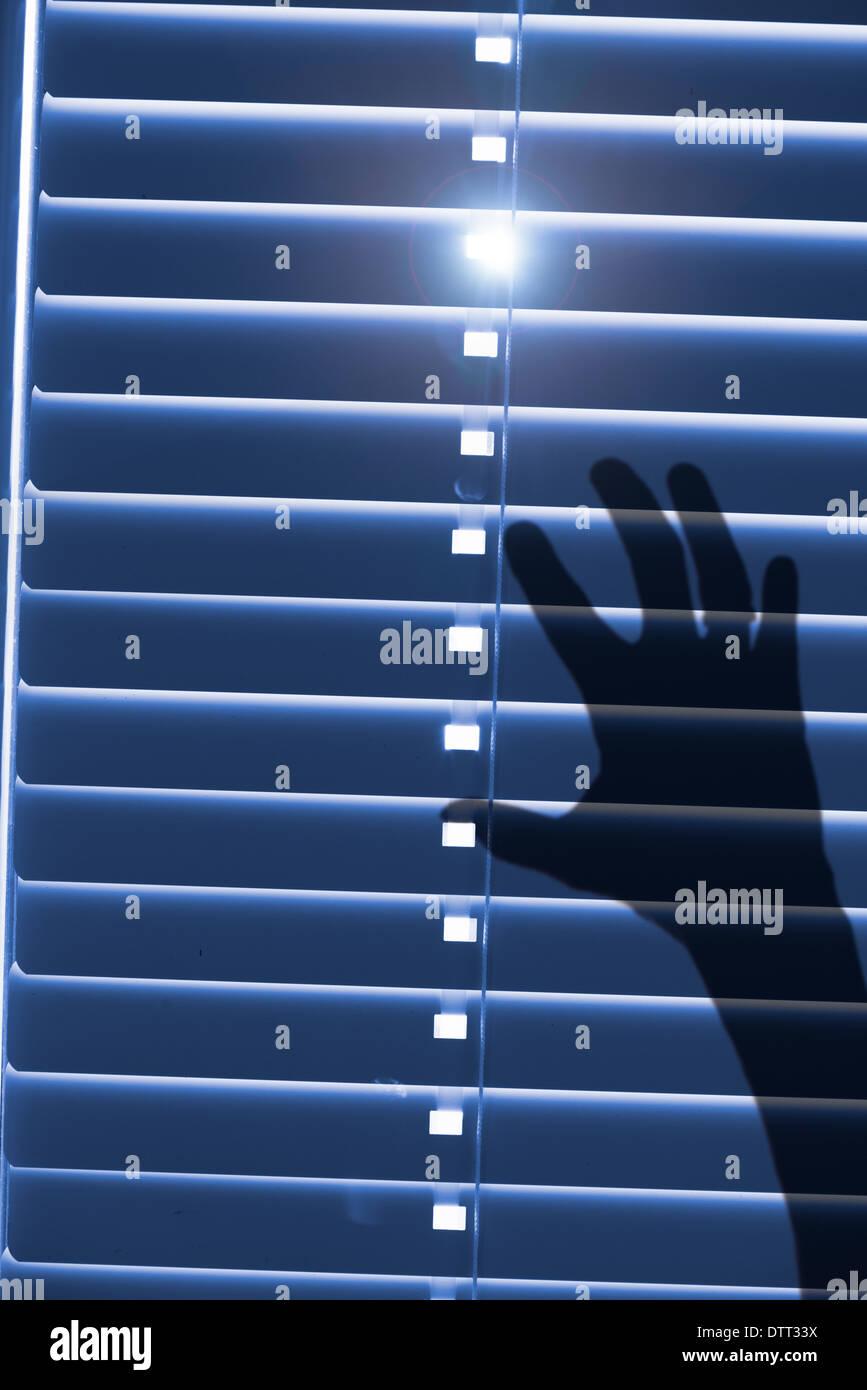 Konzeptbild, gefangen und hilflos. Schatten eines Blatts für geschlossene Fenster-Vorhänge mit Sonnenlicht außerhalb zu erreichen. Stockbild
