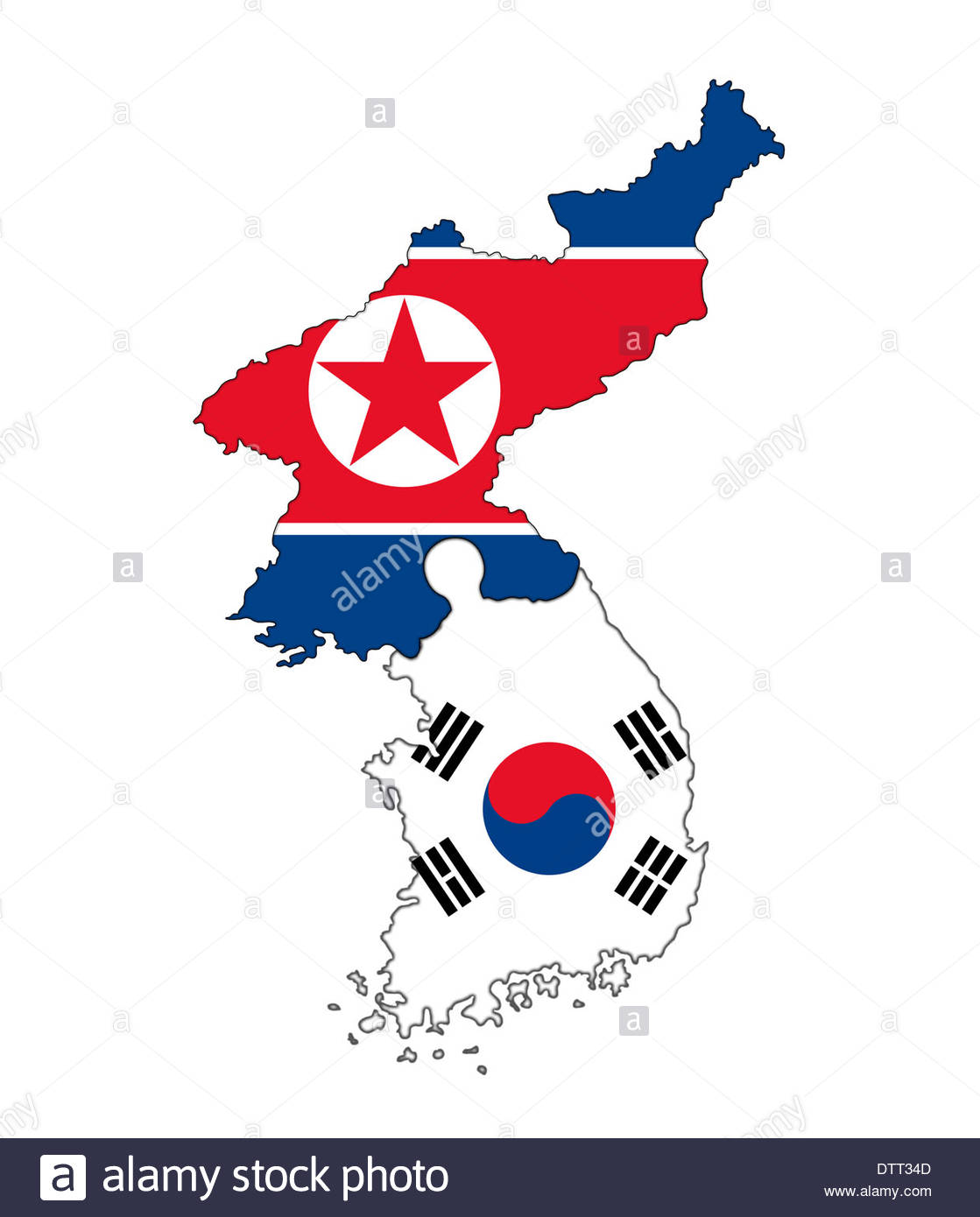 North Korea South Korea Map Stockfotos & North Korea South Korea Map ...