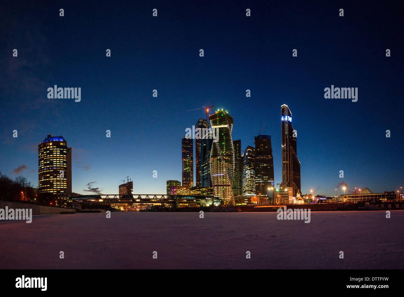 Nachtansicht des Geschäftszentrums Moskau City Stockbild