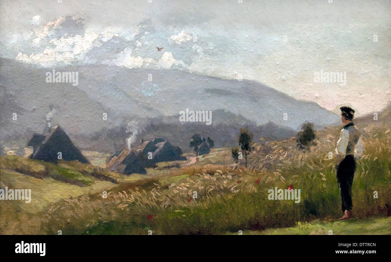 Junger Bauer bin Kornfeld - junger Bauer im Maisfeld 1862 Hans Thoma 1839-1924 Deutsch Deutsch Stockbild