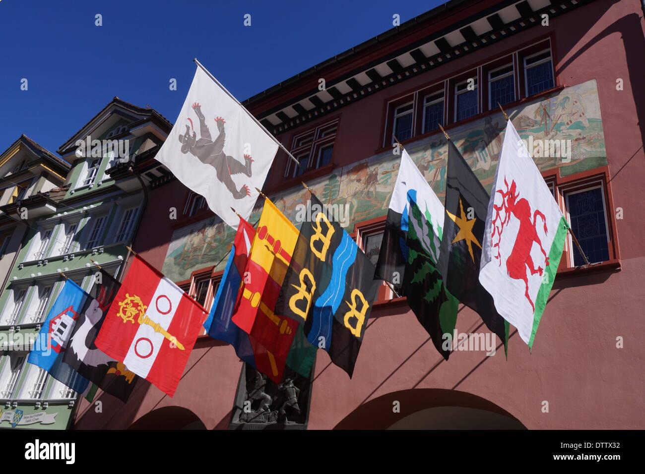 Rathaus, Appenzell, Schweiz Stockbild