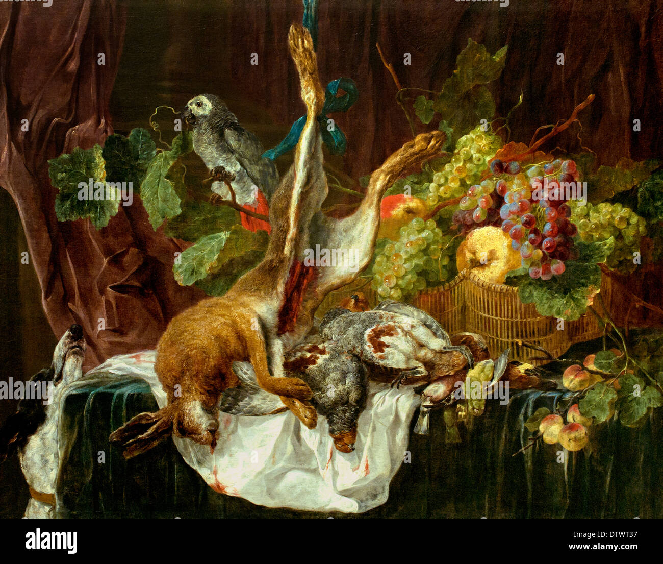 Stillleben mit Papagei Jan Fyt 1611 - 1661 belgischen belgischen Flandern Jagd Stockbild
