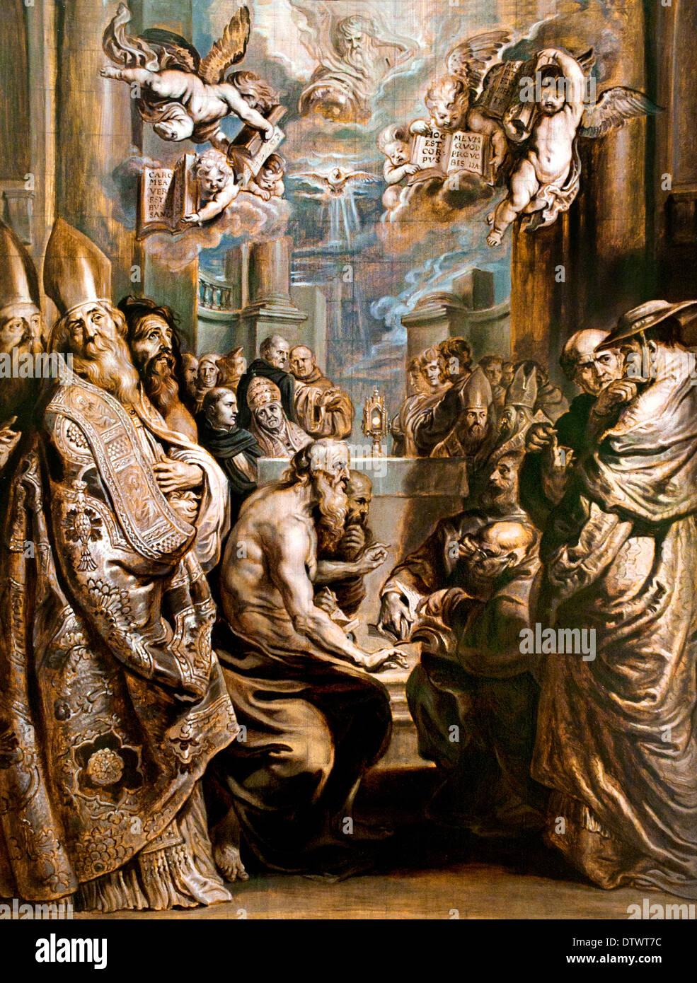 Die Disputation über die Gegenwart Christi in der Eucharistie Abraham van Diepenbeeck 1596-1675 flämischen Belgien Belgien Stockbild