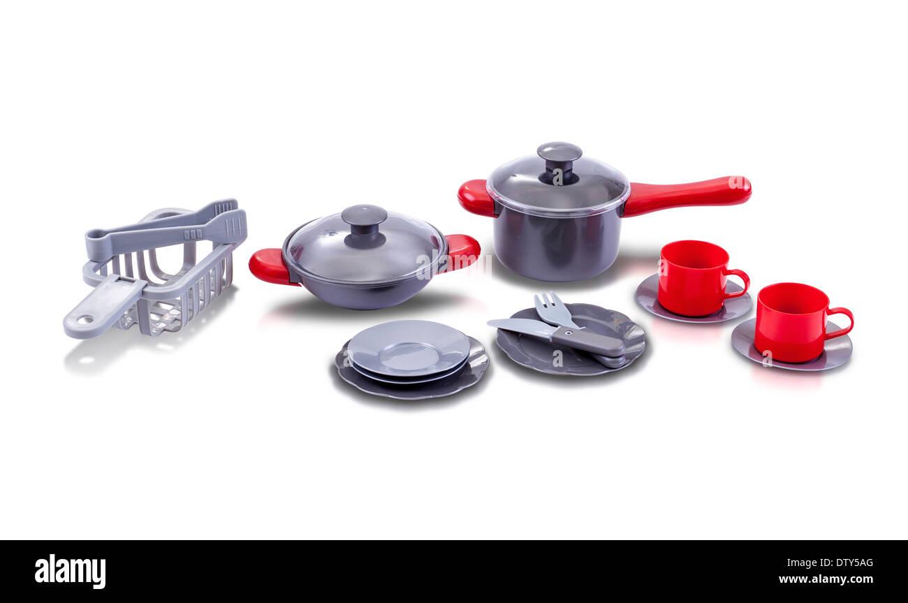 Satz von Küche Utensil Spielzeug isoliert auf weißem Hintergrund Stockbild
