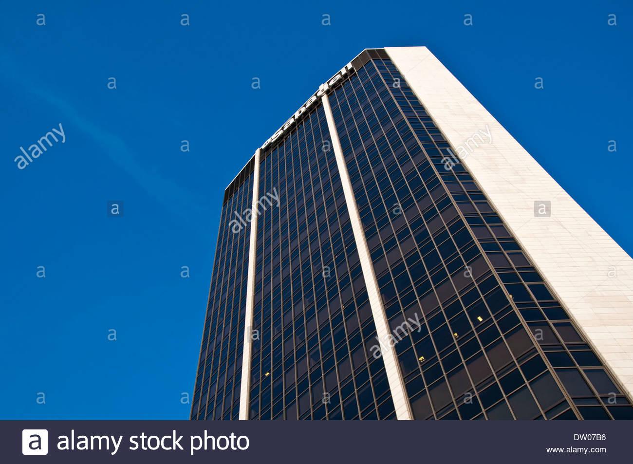 Sabadell Atlantico Bankgebäude, Hochhaus, Barcelona, Katalonien, Spanien Stockbild