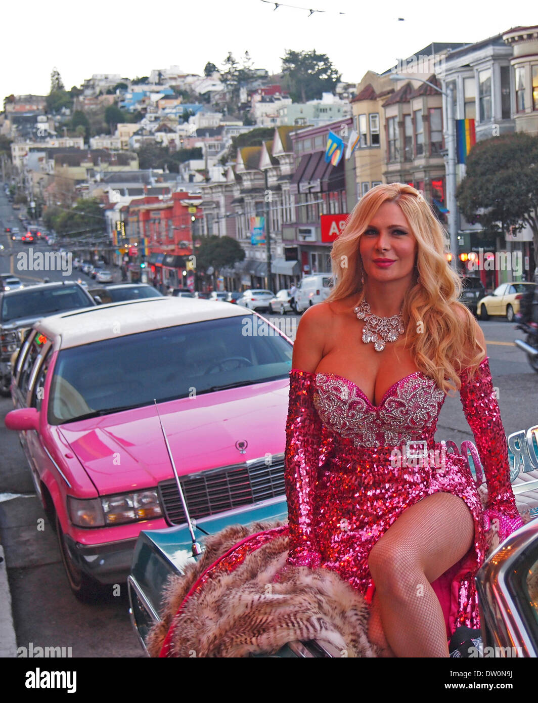 San Francisco, USA. 25. Februar 2014. Star Performer Cassandra Cass bei den 2014 Nitey Awards in San Francisco Castro District Credit: Robert Clay/Alamy Live News Stockbild