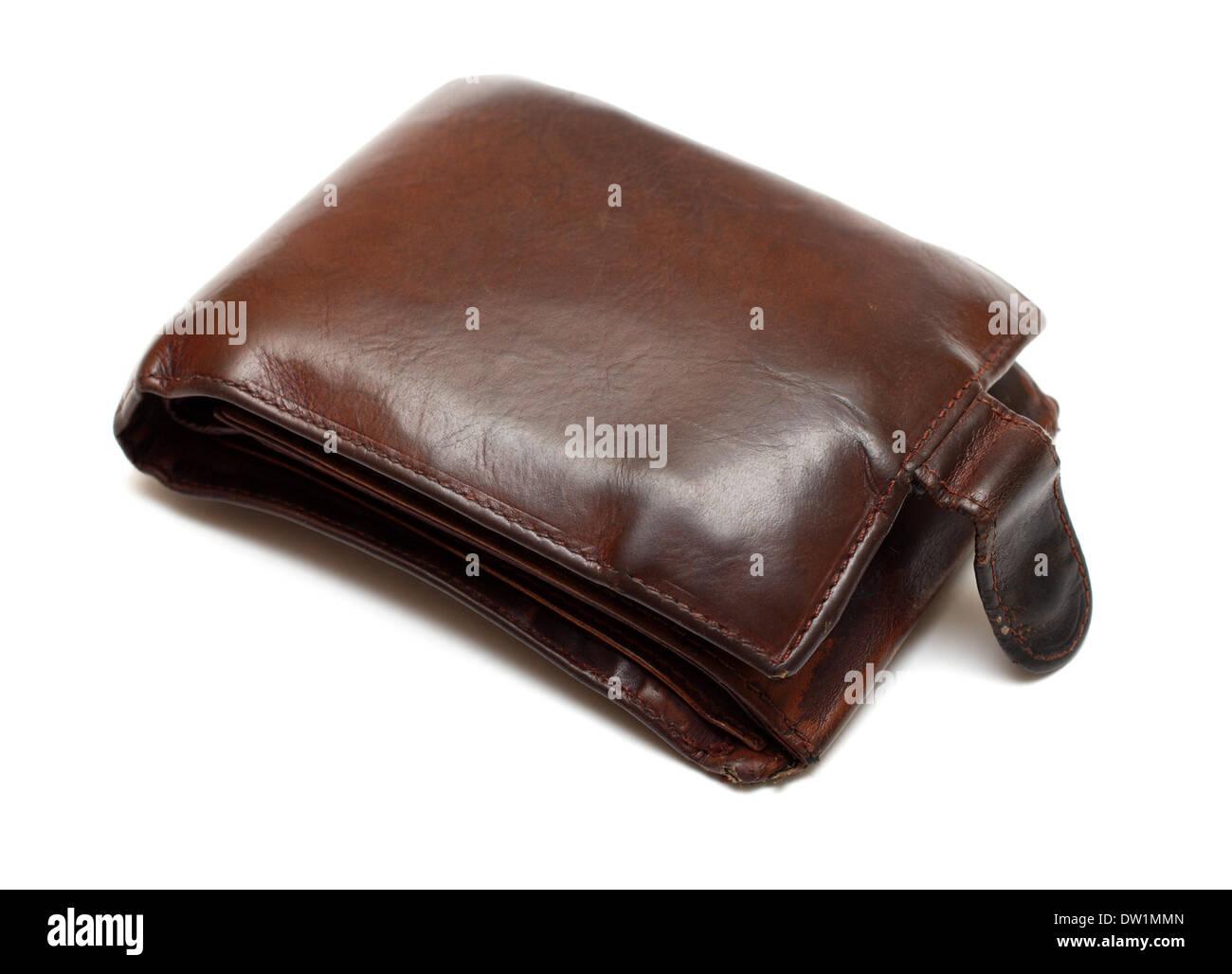 prall gefüllte Geldbörse braun Leder Stockfoto