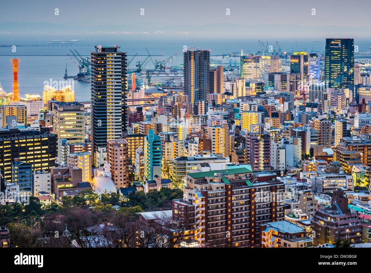 Skyline von Kobe, Japan Stockbild