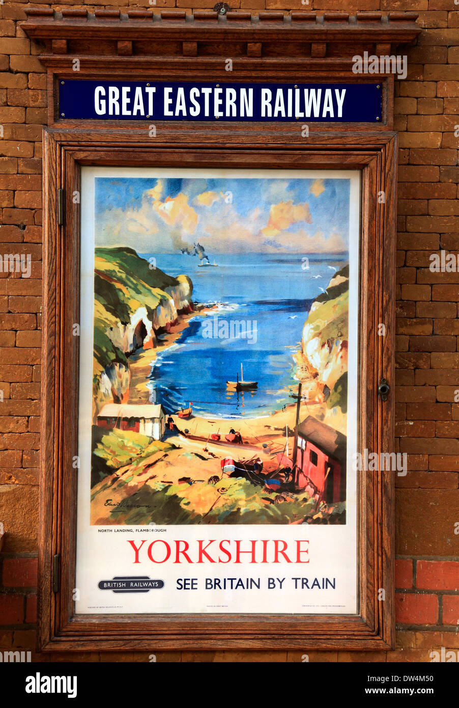 British Railways Werbeplakat, 1948, Wolferton Station, Blick der Künstlerin von Flamborough, Great Eastern Stockbild