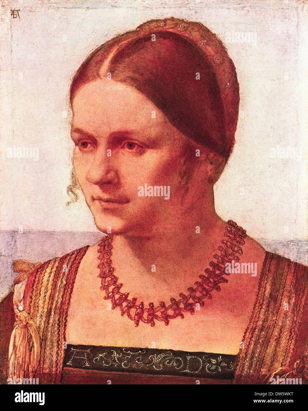 Porträt der jungen Frau Öl auf Holz von Albrecht Dürer ca. 1506 deutscher Künstler 1471-1528 Stockbild