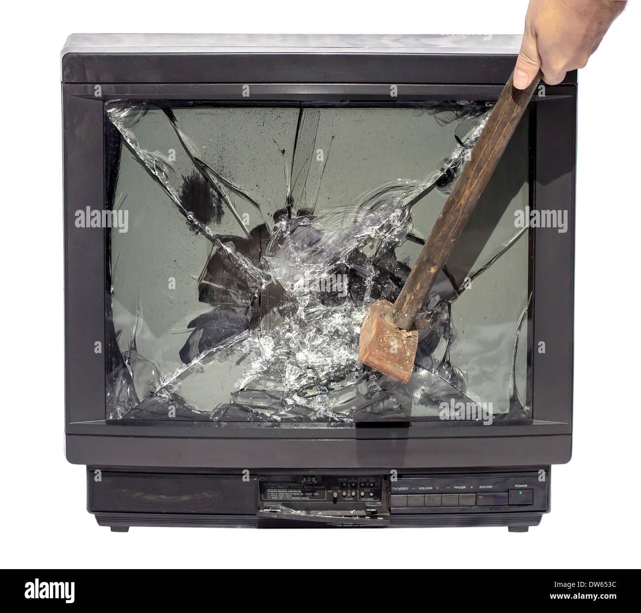 Hammerschlag, TV Stockbild