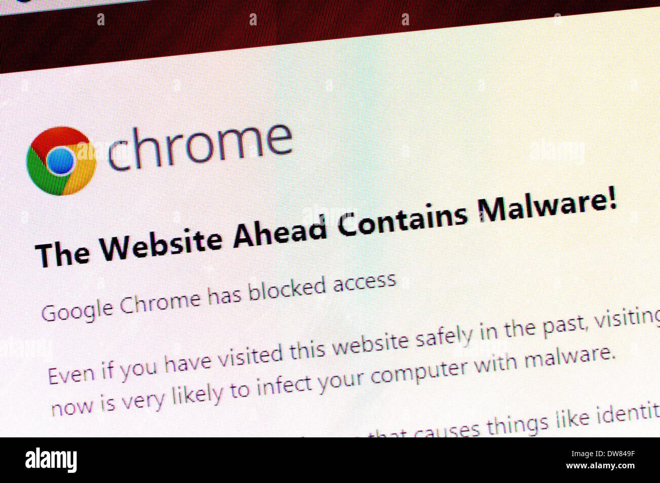 Computer-Screenshot: Malware-Warnung von Google Chrome Stockbild