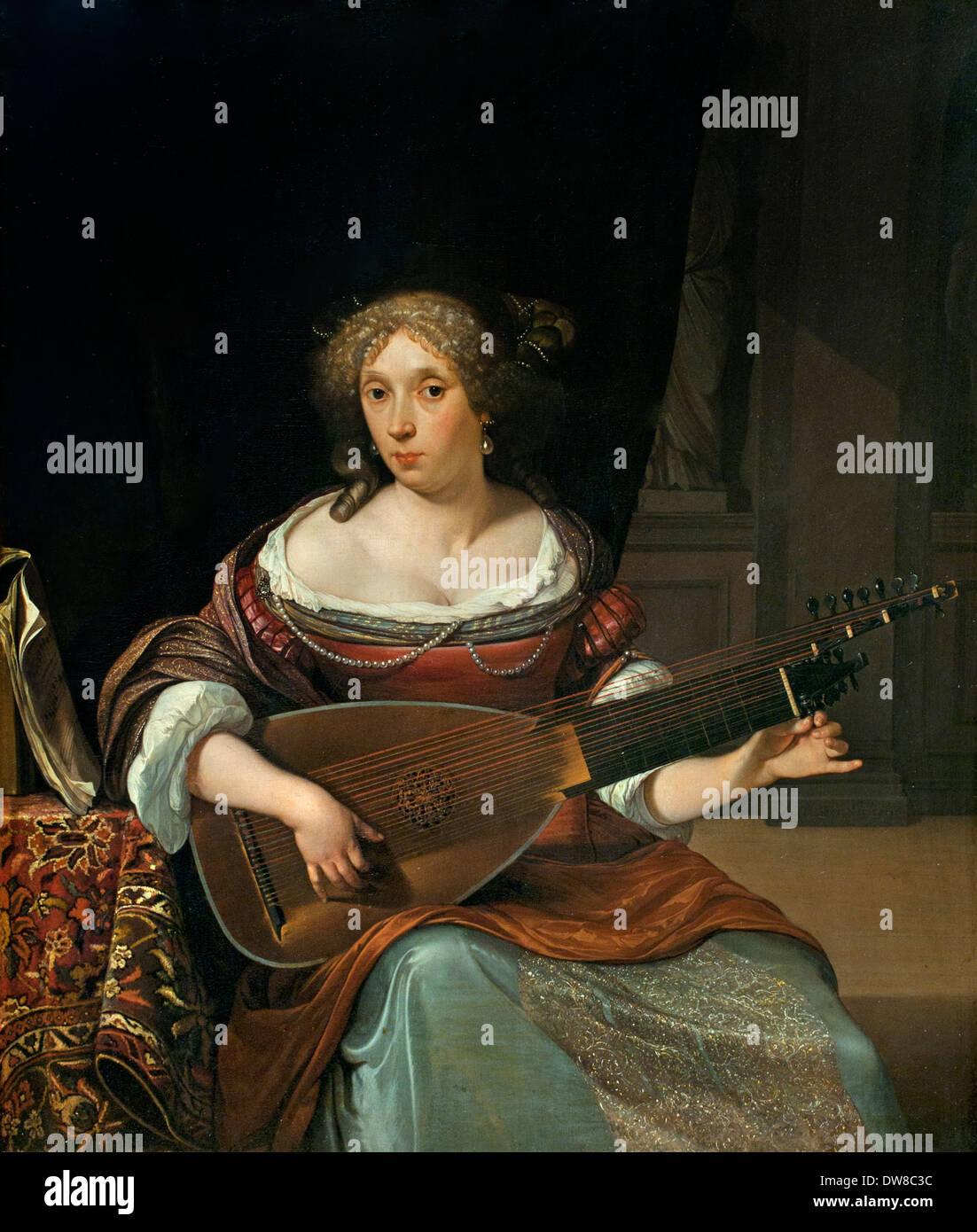 Die laute Player 1677 Eglon Hendrik van der Neer 1634-1703 niederländischen Niederlande Stockbild