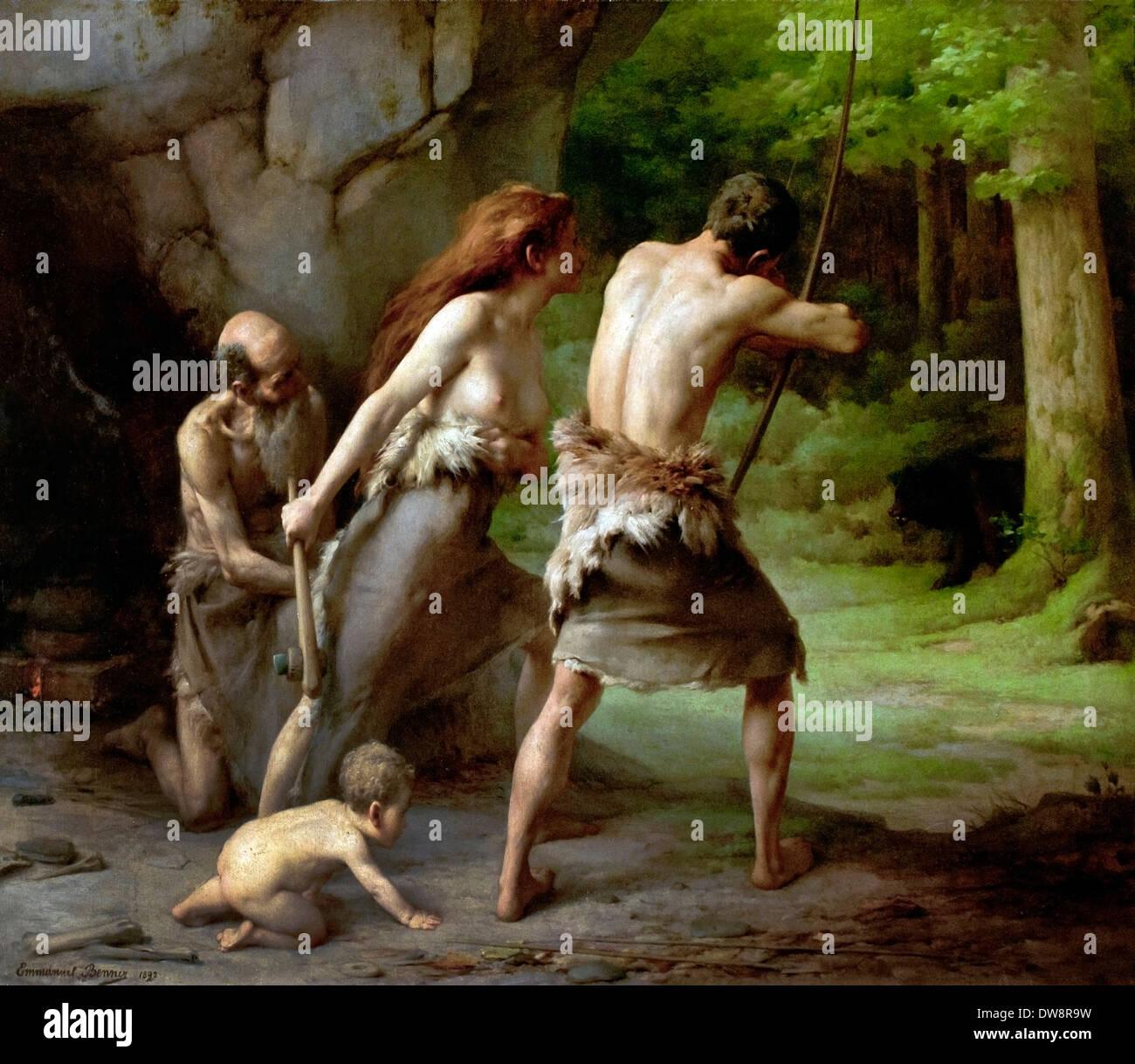 Urmenschen Jagd trägt 1892 Emmanuel Benner (1836 ? 1896) Frankreich Französisch Stockbild