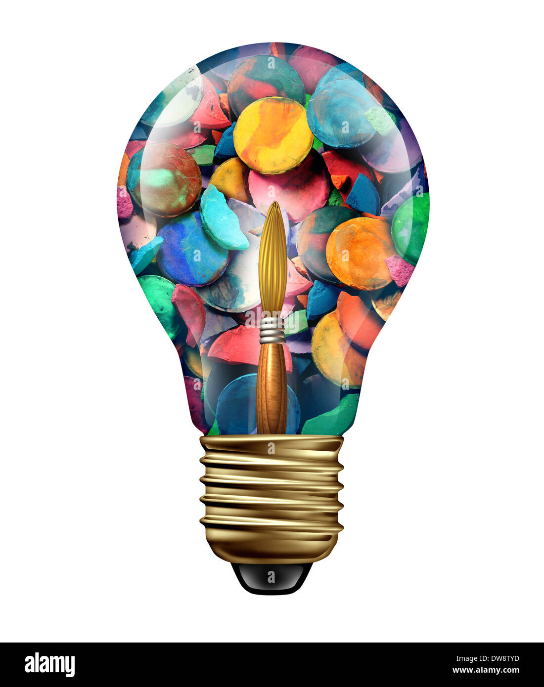 Kunst Ideen Und Kreativen Ausdruck Konzept Als Eine Gruppe Von Farben Und Pinsel Geformt Wie Ein Gluhbirnensymbol Als Metapher Fur Das Kunstlerische Handwerk Phantasie Und Freiheit Farbenfrohe Meisterwerke Isoliert Auf Weiss Stockfotografie