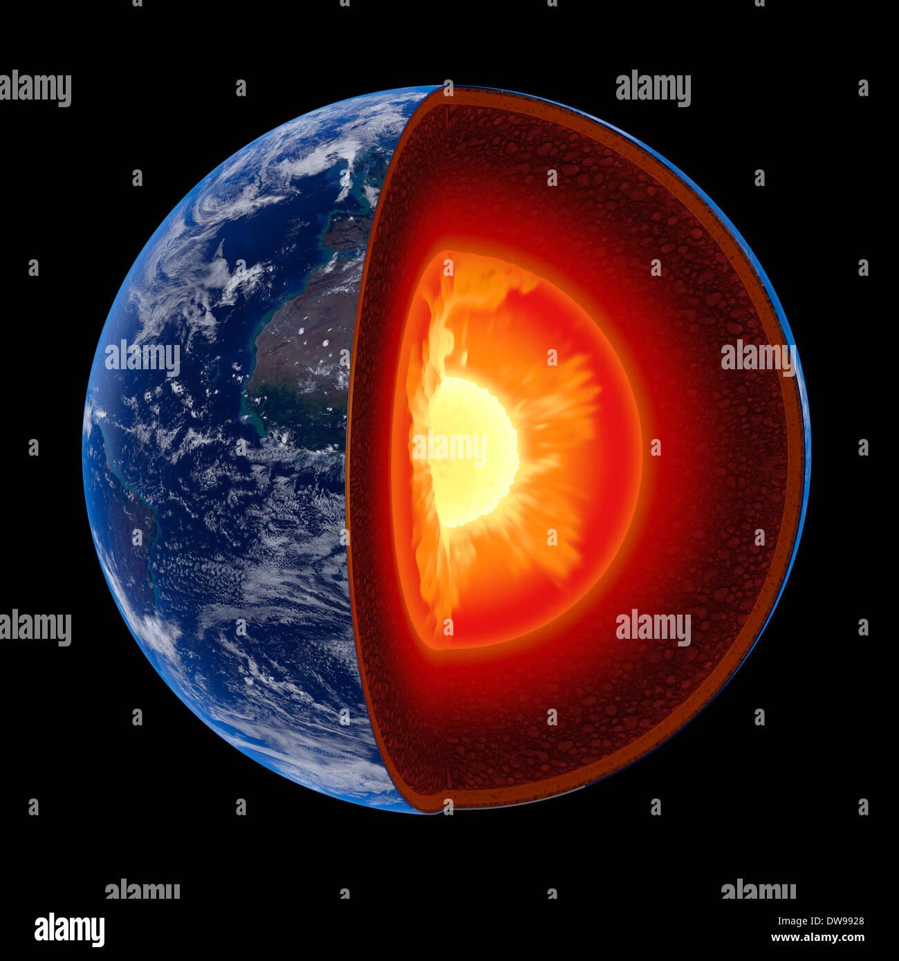 Erde-Kernstruktur illustriert mit geologischen Schichten nach Skala - isoliert auf schwarz (Textur-Maps von der NASA) Stockbild