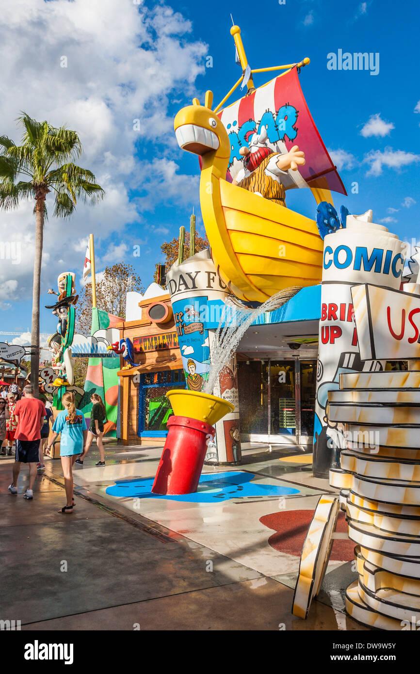 Hagar Viking Zeichentrickfigur in Toon Lagune bei Universal Studios Islands of Adventure in Orlando, Florida Stockbild