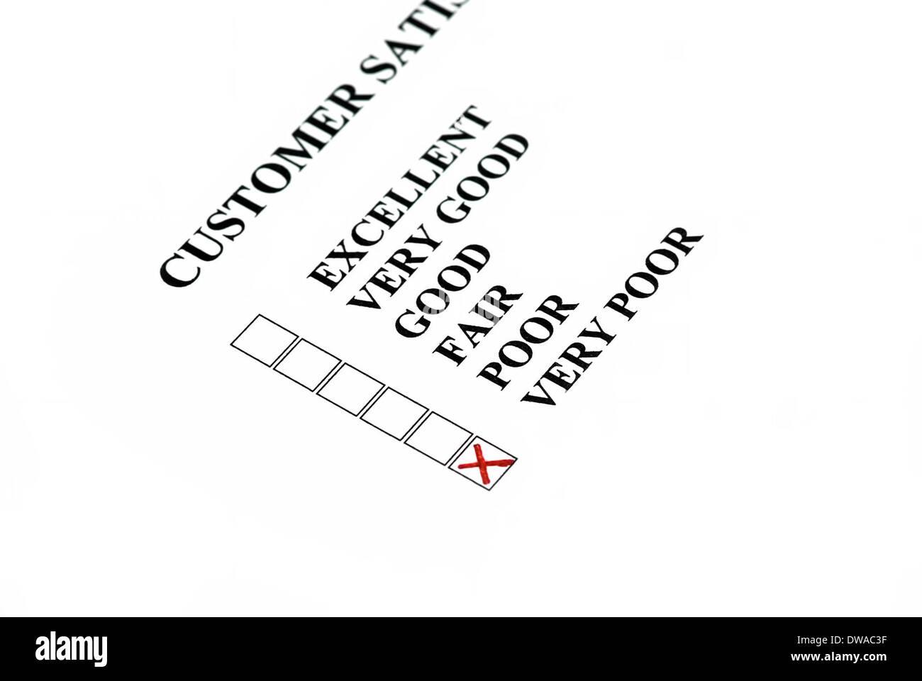 Kundenzufriedenheit: Kunden wählen ist sehr schlecht. Stockbild